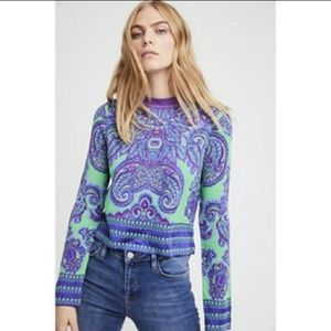 Free People Hippie Boho Neon Cropped Sweater